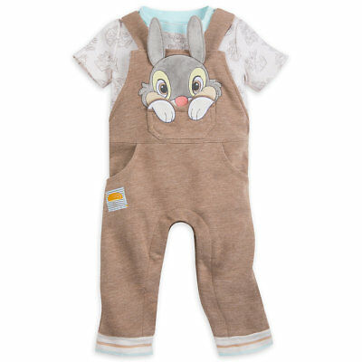 Disney Store Thumper Overalls  & Bodysuit Set 3-D Ears Cute Easter Outfit Nwt
