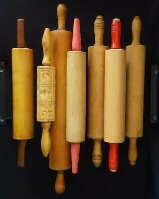 "7 Rolling Pins: Wood, Springerle, Red, Solid, Munising. Great Display 14""-21.5"""