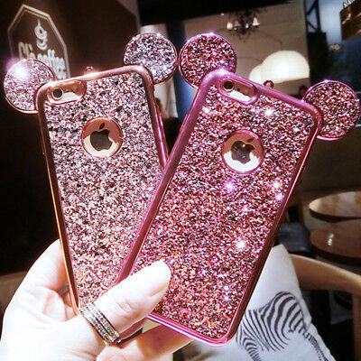 For iPhone 7 6 6S Plus 5 5S 3D Bling Mouse Ear Case Soft Silicone Glitter Cover