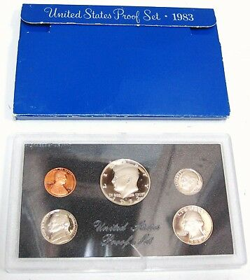 1983 S United States U.S Mint Proof 5 COIN Assorted Set Original Box
