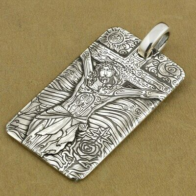 999 Sterling Silver Engraved Dog Tag Jesus Crucifix Cross Biker Pendant 9X037SD