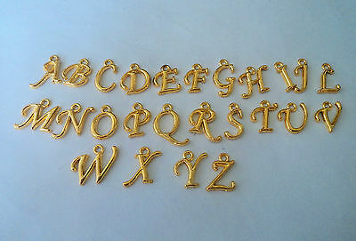 BEAUTIFUL GOLD CURSIVE Alphabet Letters A-Z European Bail Bead Charm!!
