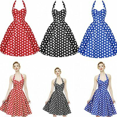 Women Dot Swing 50s 60s Retro Housewife Pinup Rockabilly Party Evening Dress AU