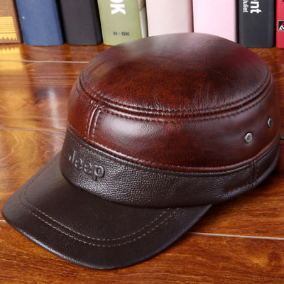 4180d839c Men's Durable Genuine Leather Military Cap Casual Flat Hat New