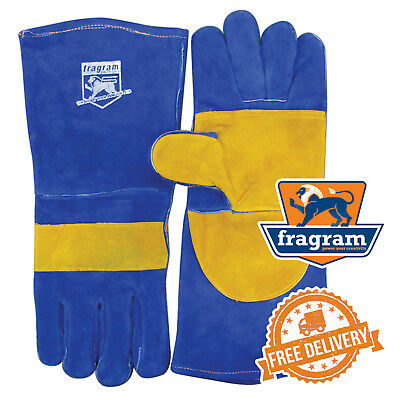 FRAGRAM Blue & Gold Double Stitched Welders Gloves (W4246)