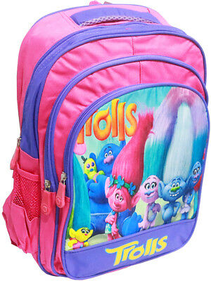 New Large Kids Backpack School Bags Girls Trolls Picnic Bag Pink Gift Toddler