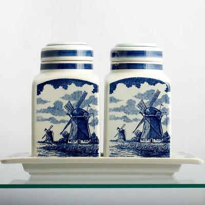 Delft Blue Canister Set Hand Made in Holland Vintage Kitchen Jars Windmill Boats