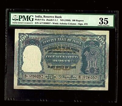 India ,***First Issue***, 100 Rupees, Rama Rao, Pick#41a