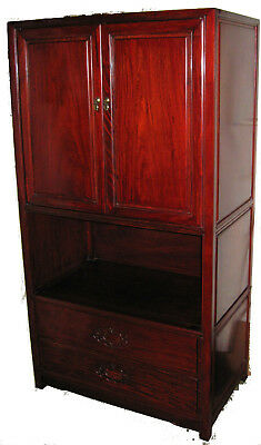 RARE Solid Thai Red Rosewood Tall Display or Storage Cabinet - Nigel Import - 5'