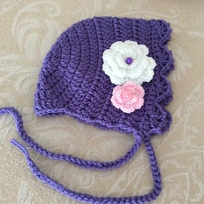 NEWBORN PURPLE Handmade CROCHET bonnet -Made in WA - photo prop