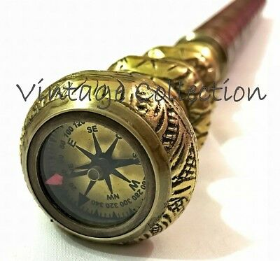 Vintage Antique Solid Brass Twist Handle Walking Stick Nautical Compass on Top