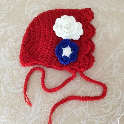 NEWBORN RED Handmade CROCHET  bonnet -Made in WA - photo prop