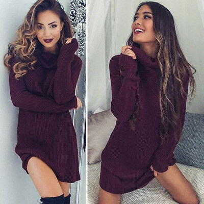 Womens Chunky Knitted Sweater Ladies Long Sleeve Pullover Ribbed Jumper Dress UK