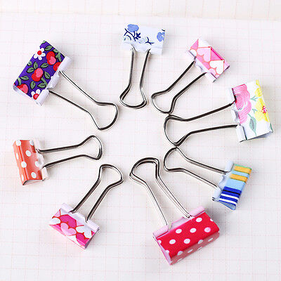 24PCS Colorful Printing Metal Binder Clips Paper Clamps School Office HKL