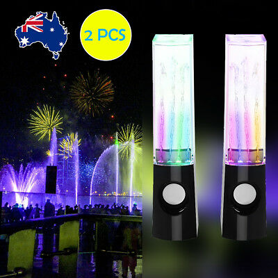 2PCS Speakers USB Music LED Dancing Water Fountain Light for iPhone Phones PC