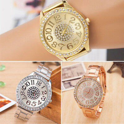 Women's Bracelet Stainless Steel Dial Analog Quartz Wrist Crystal  Watch UK