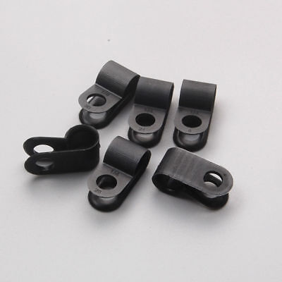 Nylon Black Plastic P Clips 31.8mm Fasteners for Cable Tubing Sleeving Conduit