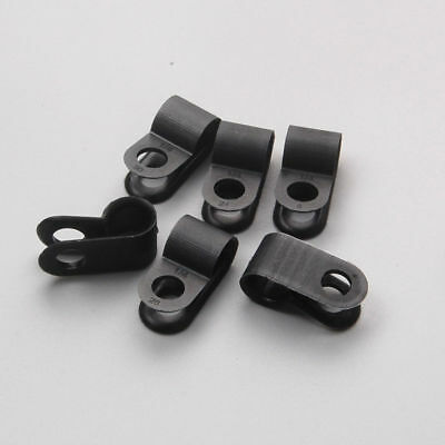 Nylon Black Plastic PClips 6.35mm Fasteners for CableTubing Sleeving Conduit 100
