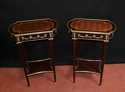 Pair Empire Side Tables French Parquetry Inlay