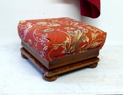 Antique Victorian Small Upholstered Footstool Pouffe.