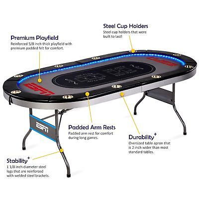 ESPN 10 Player Premium Poker Table with In-Laid LED Lights, No assembly requi...