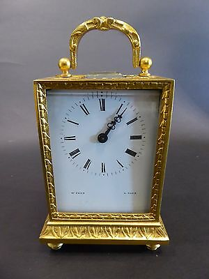 Watch Travel Clock W.Penn and A. Paris Gold Plated Chiselled France Top