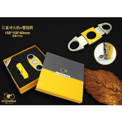 COHIBA Yellow Cigar Lighter 3 Torch Jet Flame W/ Zinc Alloy Cutter 2 Blades Set