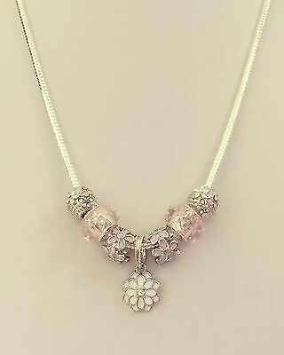 925 Silver Plated 3mm Snake-chain Charm Necklace - Pink Flower Charms/ muranos
