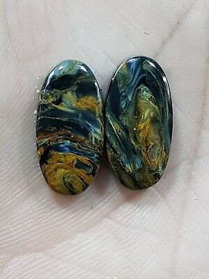 12Cts TOP YELLOW PIETERSITE OVAL SHAPE CABOCHON MATCH PAIR LOOSE GEMSTONE