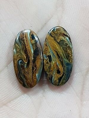10Cts TOP YELLOW PIETERSITE OVAL SHAPE CABOCHON MATCH PAIR LOOSE GEMSTONE