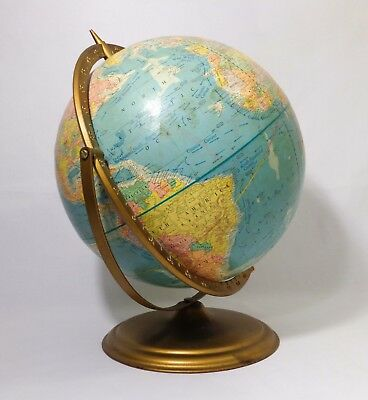 "Vintage Atomic Crams 'scope O' Sphere' 12"" World Globe/george F. Cram Brass Base"