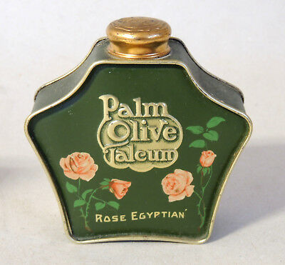 Antique 1919 vtg PALMOLIVE Talcum Powder TIN Art Nouveau Bottle PALM OLIVE Rose
