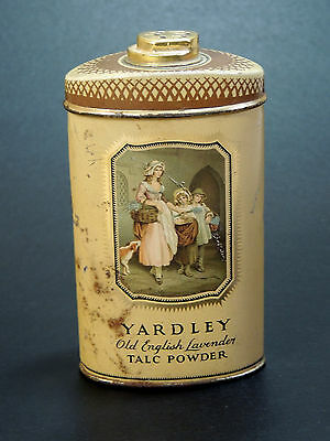 Early Antique vtg YARDLEY London TALC TIN 1930s Vanity Talcum Powder Bottle