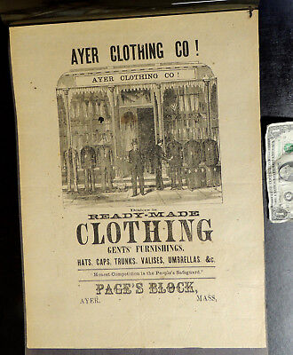 Antique vtg c1880s Victorian CLOTHING STORE Wrap Paper BROADSIDE Poster Ayer MA