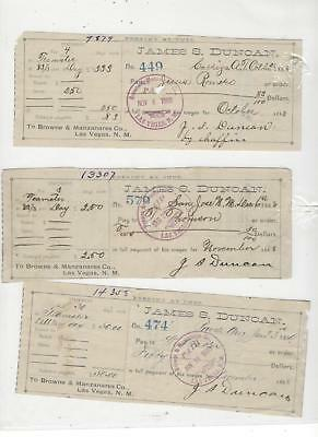 1888/89 LAS VEGAS N.M. 3 checks james s duncan teamster pay BROWN MANZANARES