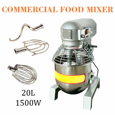 2HP 20Qt Commercial Dough Food Mixer Gear Driven Bakery Blender Three Speed