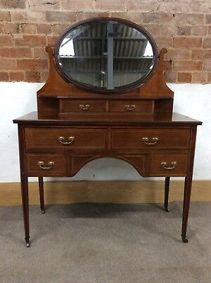 Antique Inlayed Mahogany Edwardian Dressing Table With Oval Mirror