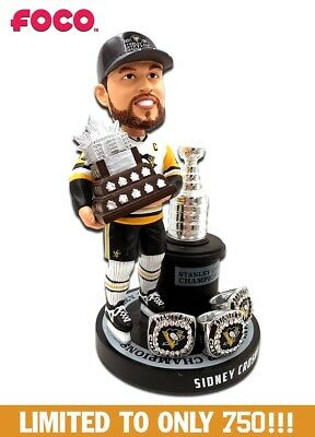SIDNEY CROSBY Pittsburgh Penguins 3x Stanley Cup Champ EXCLUSIVE Bobblehead NIB