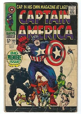 Captain America #100 (Apr 1968, Marvel) 1st Issue Black Panther Classic 3.5 VG-
