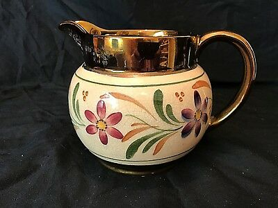 Vintage Wade Harvest Ware Copper Luster Pitcher Floral 28 Ounces