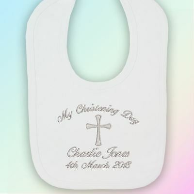 My Christening Day Embroidered Baby Bib Gift Personalised