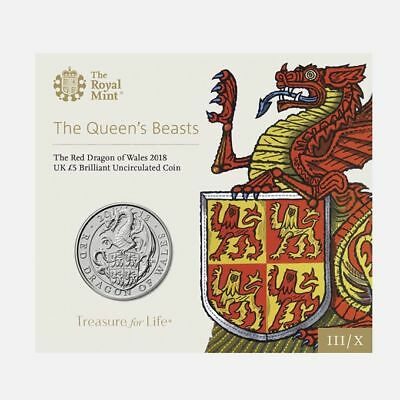 5 Pfund 2018 Queens Beasts Red Dragon of Wales Blister