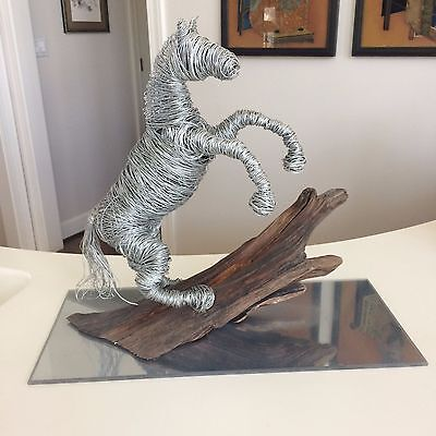 Exquisite One of a Kind Hand Woven Wired Steel Horse Wood Statue Figure Amazing!