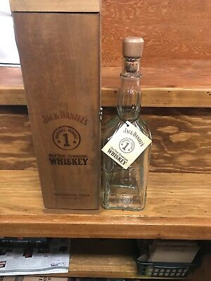 Jack Daniel's 1994 Barrel House 1 Decanter Bottle with Wooden Box and Neck Tag