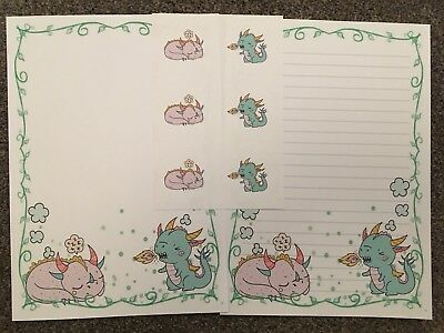 Cute Dragons Letter Writing Paper And Stickers Set