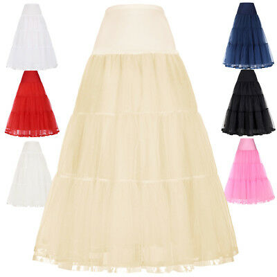 Women New Hoops Dress Petticoat Crinoline Vintage Wedding Slips Long Underskirt