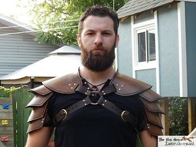 Viking leather shoulder armor. Single or double, black or brown. High quality!