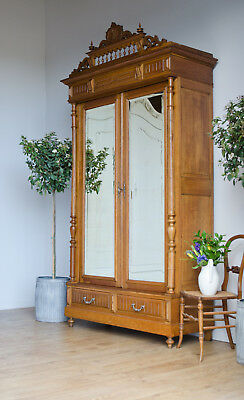 French Antique Light Oak Knockdown Wardrobe Armoire with Double Mirrored Doors