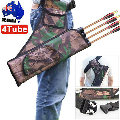 Four Tubes Archery Quiver Back Waist Bag Arrow Bow Holders Target Hunting Camo P