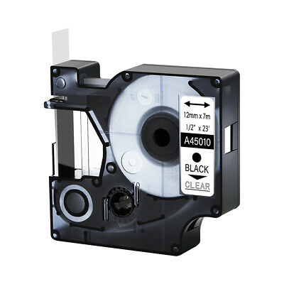 """45010 Black on Clear Label Tape Cassette For Dymo D1 Labelmanager 420P 1/2"""""""